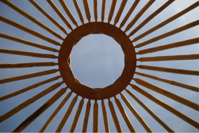 eco yurt center ring and rafters
