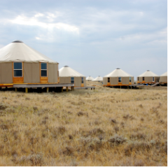 multiple tan yurts on the plains