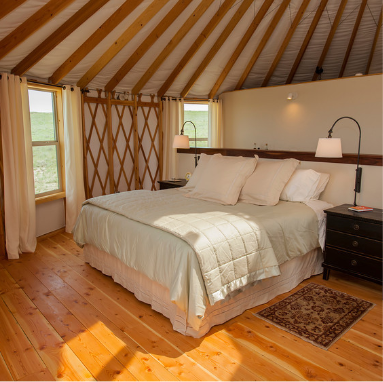 bed in a yurt bedroom