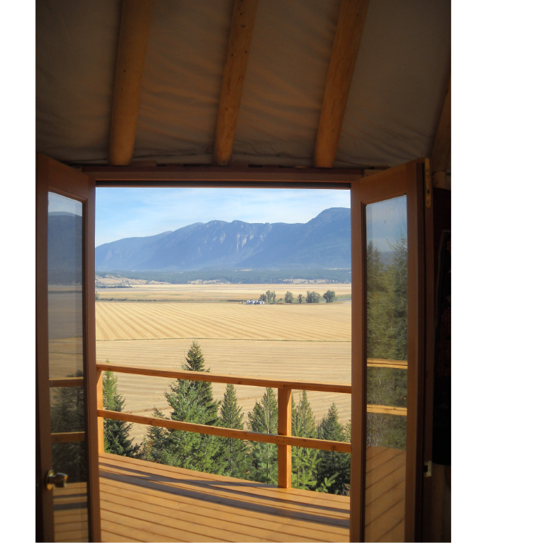view of the flathead valley outside a shelter designs yurt