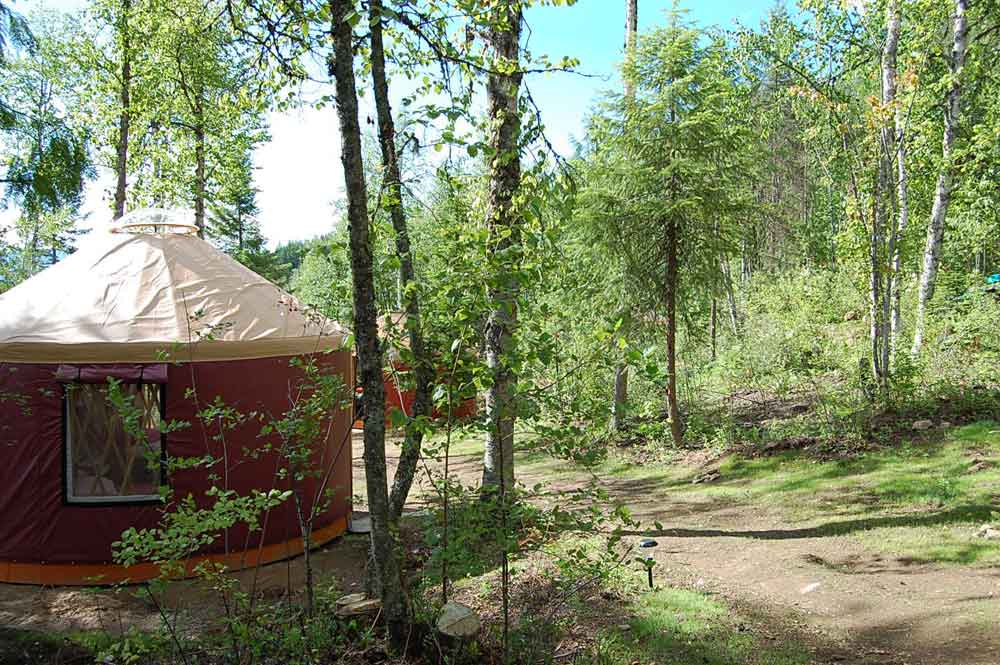 red yurt in a forest