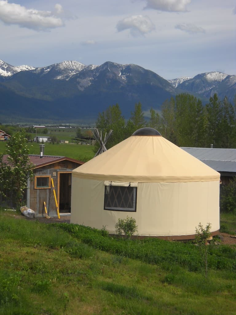 light tan yurt in the flathead valley